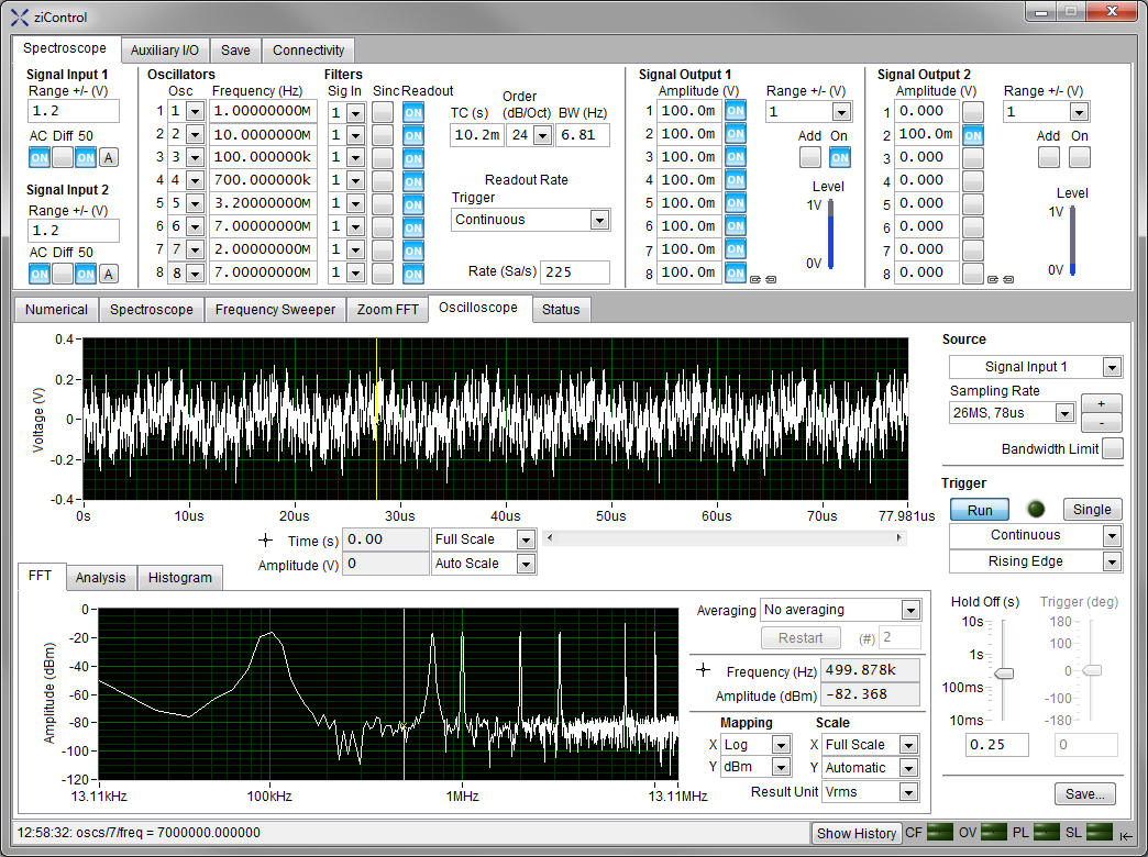 Screenshot of the Oscilloscope Tab in ziControl for the HF2IS Impedance Spectroscope