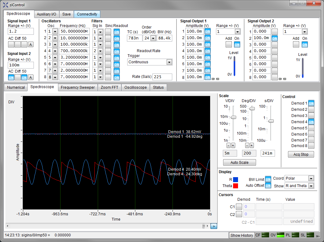 Screenshot of the Numerical Tab in ziControl for the HF2IS Impedance Spectroscope