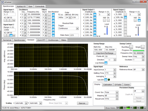 Screenshot of the Sweeper Tab in ziControl for the HF2IS Impedance Spectroscope