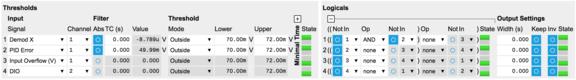 screenshot of the LabOne threshold unit