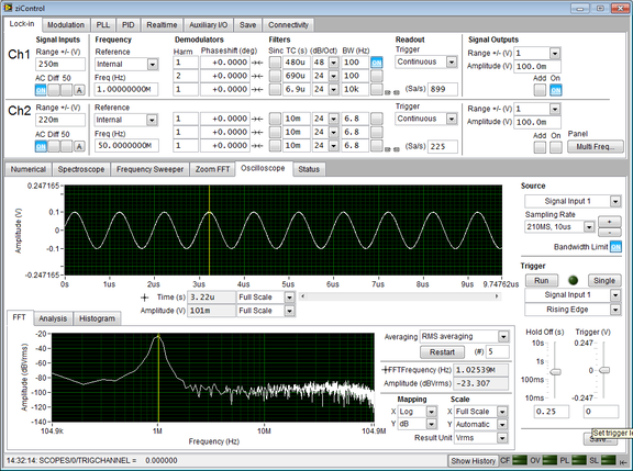 Screenshot of the Oscilloscope Tab in ziControl for the HF2LI Lock-in Amplifier