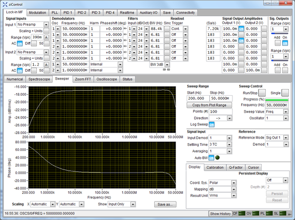 Screenshot of the Sweeper Tab in ziControl for the HF2LI Lock-in Amplifier