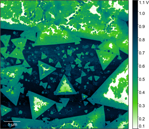 Potential landscape on MoS2 flakes captured with the HF2LI